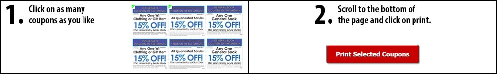 1. Click on as many coupons as you like. 2. Scroll to the bottom of the page and click print.